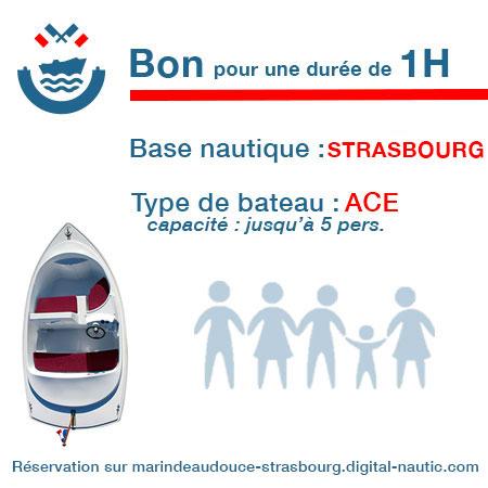 Bon cadeau pour un bateau type Ace pour une durée de 1H à Strasbourg