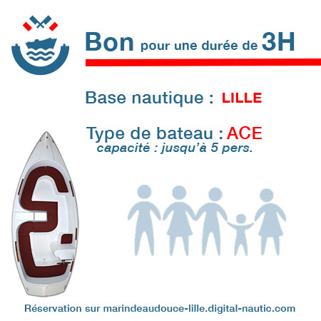 Bon cadeau pour un bateau type Ace pour une durée de 3H à Lille