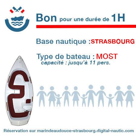 Bon cadeau pour un bateau type Most pour une durée de 1H à Strasbourg