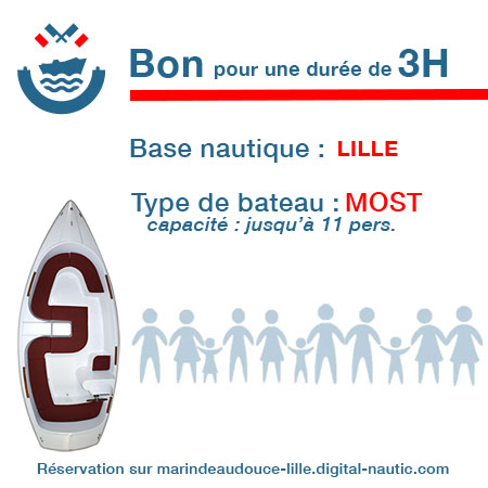 Bon cadeau pour un bateau type Most pour une durée de 3H à Lille