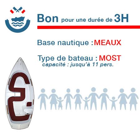 Bon cadeau pour un bateau type Most pour une durée de 3H à Meaux