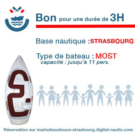 Bon cadeau pour un bateau type Most pour une durée de 3H à Strasbourg