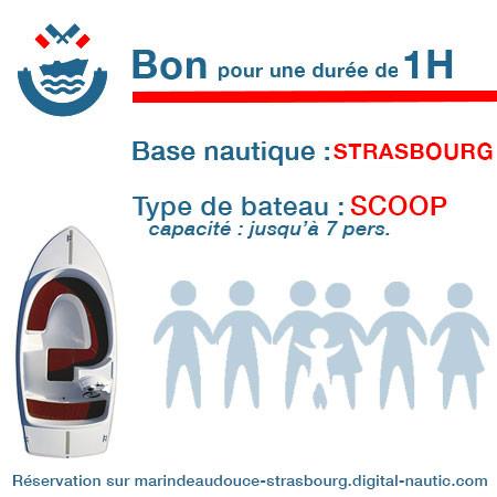 Bon cadeau pour un bateau type Scoop pour une durée de 1H à Strasbourg