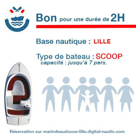 Bon cadeau pour un bateau type Scoop pour une durée de 2H à Lille