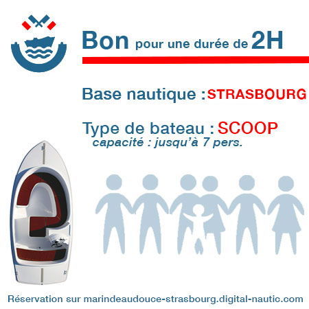 Bon cadeau pour un bateau type Scoop pour une durée de 2H à Strasbourg