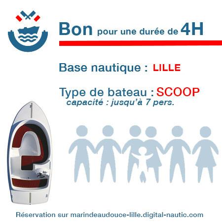 Bon cadeau pour un bateau type Scoop pour une durée de 4H à Lille