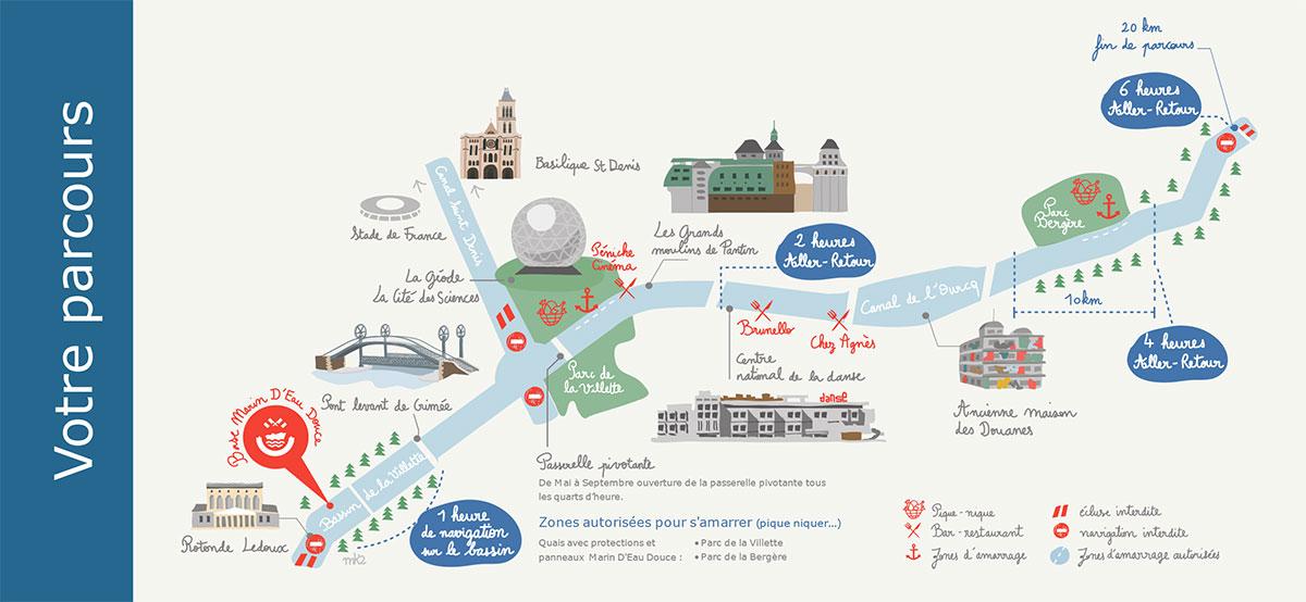 le parcours depuis la base nautique de Paris